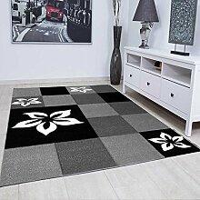 Teppich Modern Grau Schwarz Kariert mit Blumenmuster Handgeschnittene Konturen, sehr strapazierfähig und Öko Text geprüft auf Schadstoffe, VIMODA; Maße: 160x230 cm