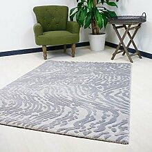 Teppich Modern Grau Vintage Motive Velour Kurzflor mit 3D Effekt, Hoch-Tief Struktur hochwertige Webung (160 x 230 cm)