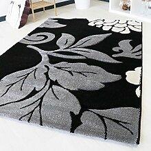 Teppich Modern in Grau mit Konturenschnitt in verschiedenen Größen für Wohnzimmer Floral in hochwertiger Qualität Design (200cm x 290cm)