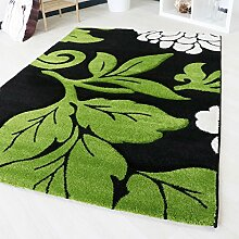 Teppich Modern in Grün mit Konturenschnitt in verschiedenen Größen für Wohnzimmer Floral in hochwertiger Qualität Design (160cm x 230cm)