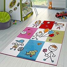 Teppich Modern Kinderteppich Kariert Fröhliche Kinder In Creme Blau Grün Pinkl, Größe:160x220 cm