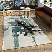 Teppich Modern Leinwand Optik Splash Brushed Designer Teppich Türkis Creme, Grösse:160x230 cm