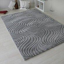 Teppich Modern mit Retro Muster Designer Wohnzimmer - Grau mit 3D Effekt & Edel look , sehr dichte und hochwertige Webung mit Öko-Tex (80 x 150 cm)
