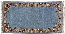 Teppich Modern Nepal ca. 140 x 75 cm · Blau · handgeknüpft · Schurwolle · Modern · hochwertiger Teppich · 15430