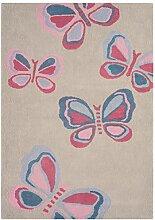 Teppich modernes Design CANDY BUTTERFLIES RUG GREY 120 cm x 170 cm 100% Baumwolle