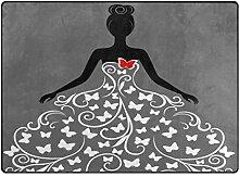 Teppich, Motiv Mädchen mit Schmetterling-Druck,