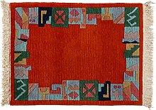 Teppich Nepali ca. 85 x 65 cm · Rot · handgeknüpft · Schurwolle · Modern · hochwertiger Teppich · 14095