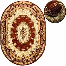Teppich OVAL Klassisch Orientalisch Ornamente Muster 3D-Effekt Konturenschnitt (150 x 295 cm, Braun)