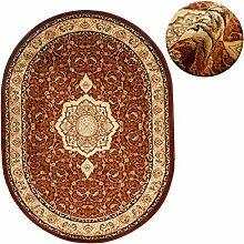 Teppich OVAL Klassisch Orientalisch Ornamente Muster 3D-Effekt Konturenschnitt (60 x 100 cm, Braun)