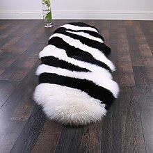 Teppich Ovaler Teppich-Schwarzweiss-Teppich-Schlafzimmer-Bettvorleger (60 * 180CM) ( Farbe : A , größe : 60*180cm )