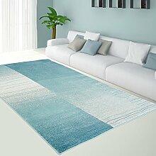 Teppich Pastell Modern Designer Wohnzimmer Schlafzimmer Läufer Inspiration Sway Karo Grau Beige Blau NEU, Größe in cm:160 x 230 cm;Farbe:Blau