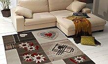 Teppich Patchwork Design mit Herzen und Blumen–Wirtschaftliche Teppich Modern Inlay A3151–65 Cm.200x290 Beige, Marrone, Avorio e Rosso