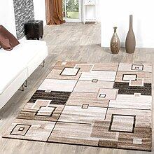 Teppich Pisa Muster Rechtecke Kariert Wohnzimmerteppich Braun Beige Creme , Größe:160x230 cm