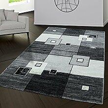 Teppich Pisa Muster Rechtecke Kariert Wohnzimmerteppich Grau Schwarz Creme, Größe:160x230 cm