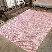 Teppich Rosa Kurzflor Designer Modern mit Hoch Tief Effekt Glitzer Pink Weiß, Naturfreundlich (120 x 170 cm)