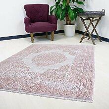 Teppich Rosa Pink Velour Design für Wohnzimmer Qualitativ mit Medaillon Muster Kurzflor (120 x 170 cm)