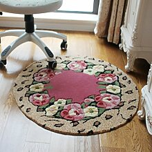Teppich, Rose Dicker Rundes Schlafzimmer Kosmetik Hocker Pad Computer Stuhl Decke Kissen Hängende Decken Wohnzimmer 80x80cm ( Farbe : #1 )