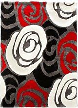 Teppich Rose Flokati in Rot