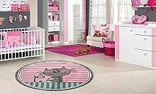 Teppich rund Diamond Kids Kätzchen rosa 120x