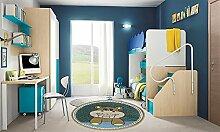 Teppich rund Diamond Kids Nilpferd blau 120x