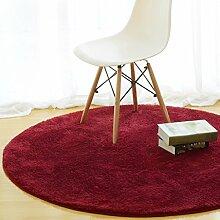 Teppich Runde Einfache Moderne Schlafzimmer Nacht Wohnzimmer Couchtisch Home Computer Stuhl Teppiche Kissen Pad Verdickung 80cm, 60cm ( Farbe : Rot , größe : 80cm )