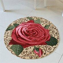 Teppich runde Matten Computer Stuhl Kissen Europäische Stil Maschine waschbar Teppich ( Farbe : B , größe : 100*100cm )