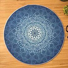 Teppich Runde Schlafzimmer Teppich Wohnzimmer rutschfeste Matten stilvolle blau blau und weiß Porzellan Muster Teppich ( größe : 140x140cm )
