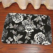 Teppich,rutschfeste, Zottelige Schwarze Rose Mit