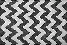 Teppich Schwarz mit Weiß 140 x 200 cm