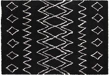 Teppich Schwarz und Elfenbeinfarben Polypropylen
