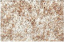 Teppich Shaggy 60 x 90 cm Badvorleger Dunkelcreme Badematte Bettvorlege