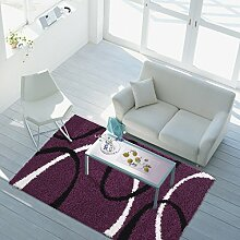 Teppich Shaggy-Design Hochflor Langflor mit Bogen-Muster für Wohnzimmer/ Schlafzimmer in Lila/ Violet, Größe: 80 x 150 cm