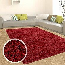 Teppich Shaggy Hochflor Einfarbig Flokati für verschiedene Zimmer Günstig Angebot Rot 70x250 cm