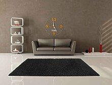 Teppich Shaggy Uni Soft schwarz 80x 140cm