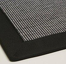 Teppich Sisal-Optik Flachgewebe modern hochwertige Bordüre hell-grau anthrazit, verschiedene Größen, Variante: 80 x 250 cm