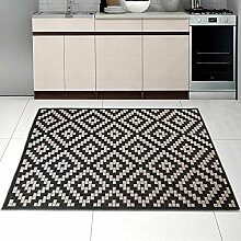 Teppich SISAL Optik in Schwarz Weiß - Modern