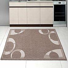 """Teppich SISAL Optik in Taupe Beige - Modern Küche Flachgewebe Küchenteppich - Kreis Muster - Sehr Robust Öko-Tex """" SIZAL-DEKO """" (80 x 150 cm)"""