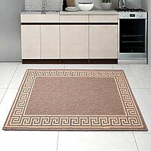 """Teppich SISAL Optik in Taupe Beige - Modern Küche Flachgewebe Küchenteppich - Griechisch Muster Kaffee - Sehr Robust Öko-Tex """" SIZAL-DEKO """" (140 x 200 cm)"""