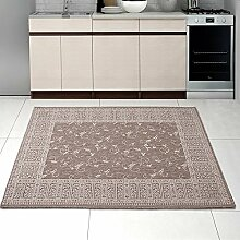 Teppich SISAL Optik in Taupe Beige - Ornamente