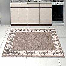 """Teppich SISAL Optik in Taupe - Modern Küche Flachgewebe Küchenteppich - Griechisch Muster Kaffee - Sehr Robust Öko-Tex """" SIZAL-DEKO """" (80 x 200 cm)"""