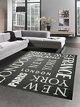 Teppich Sisal Optik Küchenläufer City New York London Paris schwarz weiss Größe 80x150 cm