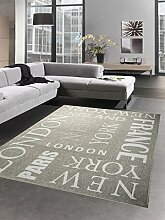 Teppich Sisal Optik Küchenläufer City New York London Paris grau weiss Größe 60x110 cm