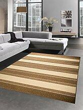 Teppich Sisal Optik Küchenläufer Küchenteppich Streifen beige braun Größe 120x170 cm