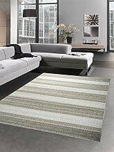 Teppich Sisal Optik Küchenläufer Küchenteppich Streifen grau Größe 160x220 cm