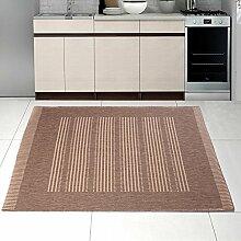 """Teppich SISAL Optik Modern Küche Flachgewebe Küchenteppich Gestreift in Beigge Coffee Taupe - Sehr robust Öko-Tex """" SIZAL-DEKO """" (160 x 230 cm)"""