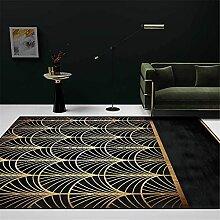 Teppich sitzecke Teppich Schwarzgold Retro