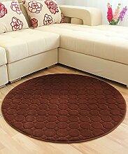 Teppich Solid Color Round Teppich Einfache kreative Teppich Sofa Couchtisch Teppich rutschfeste Türmatten Wohnzimmer Hall Schlafzimmer Teppich Lebensmittel ( Farbe : A , größe : 120*120CM )