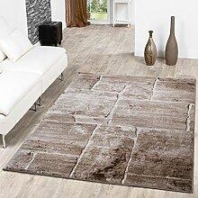 Teppich Steinboden Marmor Optik Design Modern Wohnzimmerteppich Braun Top Preis, Größe:160x220 cm