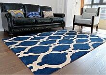 Teppich Teppich blau Wohnzimmerteppich Gewaschene teppich Xiandai teppich Karierte wolldecke Teppich verschleifest Nordische carpet200 * 300cm79x118inch-A 63x91inch(160x230cm)
