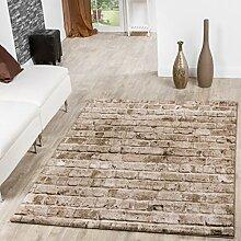 Teppich Torino Stone Optik Grau Wohnzimmer Teppich Braun Beige Meliert, Größe:160x230 cm